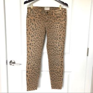 Current/Elliot Leopard Print Stiletto Skinny Jeans